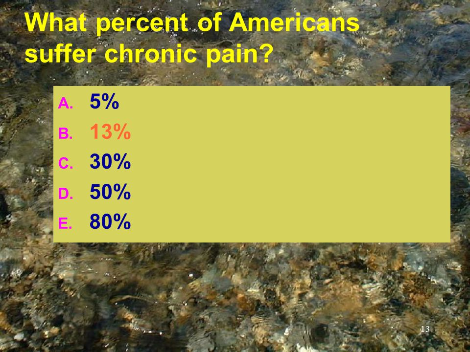 13 What percent of Americans suffer chronic pain? A. 5% B. 13% C. 30% D. 50% E. 80%