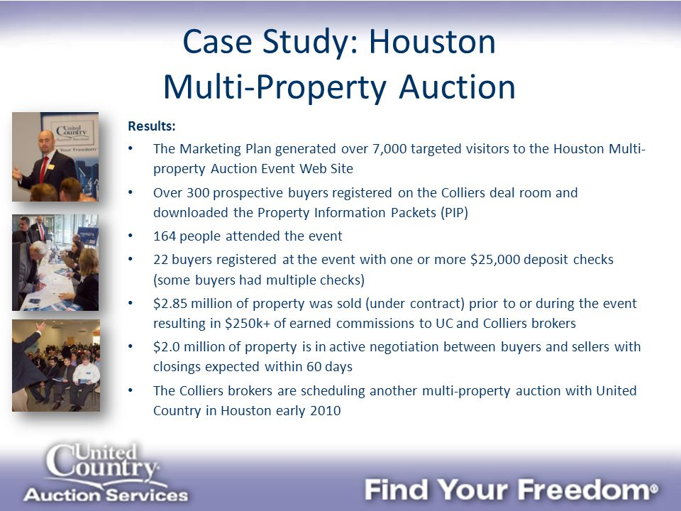 Results: The Marketing Plan generated over 7,000 targeted visitors to the Houston Multi- property Auction Event Web Site Over 300 prospective buyers registered on the Colliers deal room and downloaded the Property Information Packets (PIP) 164 people attended the event 22 buyers registered at the event with one or more $25,000 deposit checks (some buyers had multiple checks) $2.85 million of property was sold (under contract) prior to or during the event resulting in $250k+ of earned commissions to UC and Colliers brokers $2.0 million of property is in active negotiation between buyers and sellers with closings expected within 60 days The Colliers brokers are scheduling another multi-property auction with United Country in Houston early 2010 Case Study: Houston Multi-Property Auction