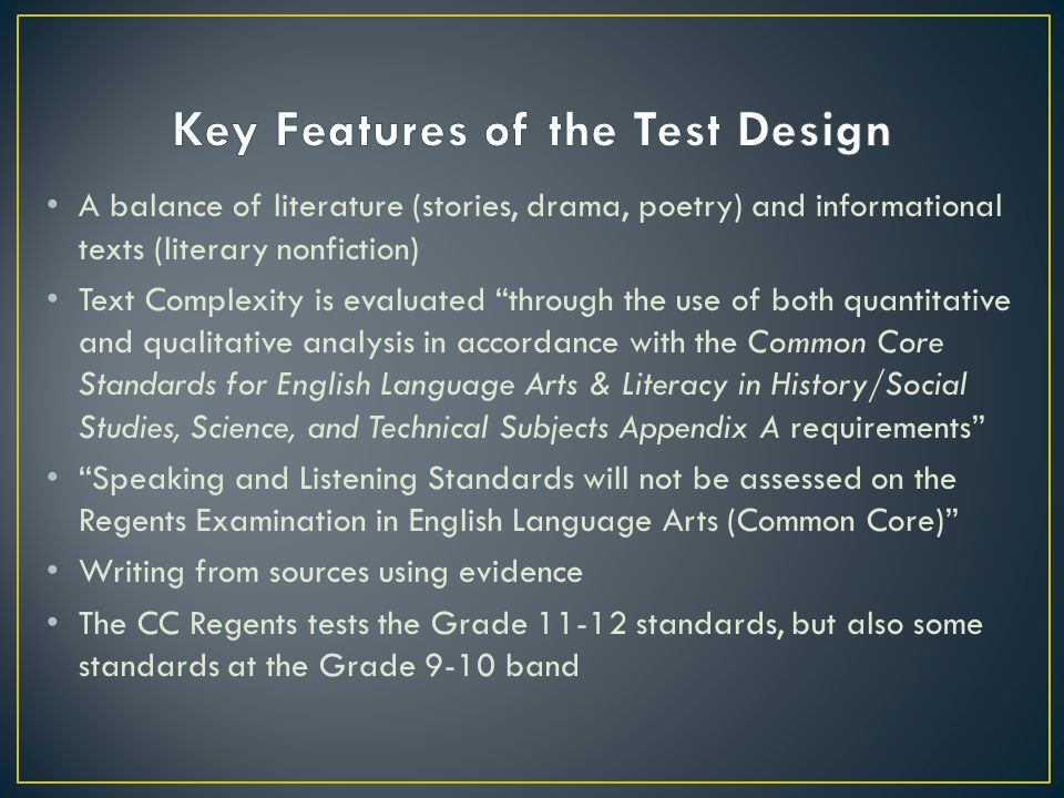 """A balance of literature (stories, drama, poetry) and informational texts (literary nonfiction) Text Complexity is evaluated """"through the use of both q"""