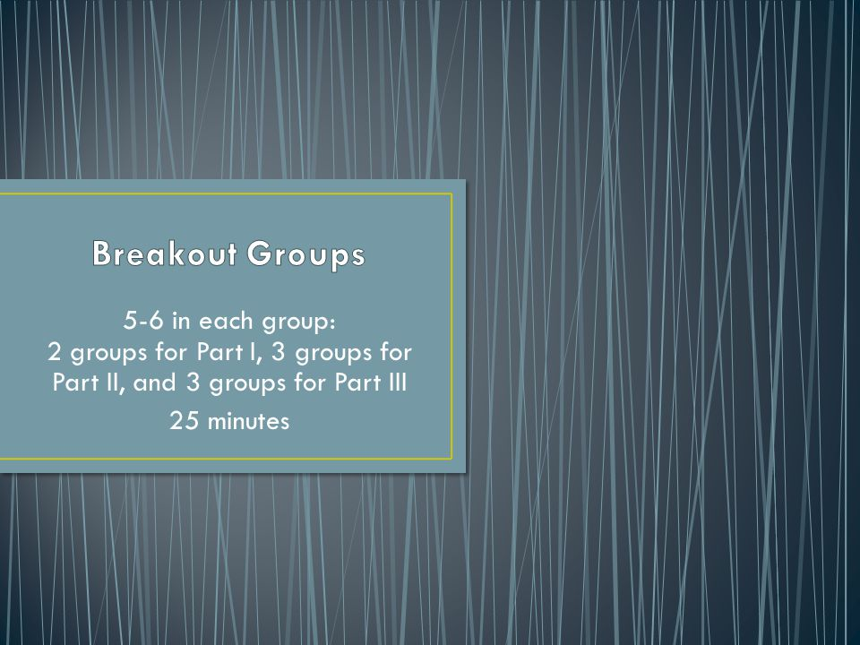 5-6 in each group: 2 groups for Part I, 3 groups for Part II, and 3 groups for Part III 25 minutes