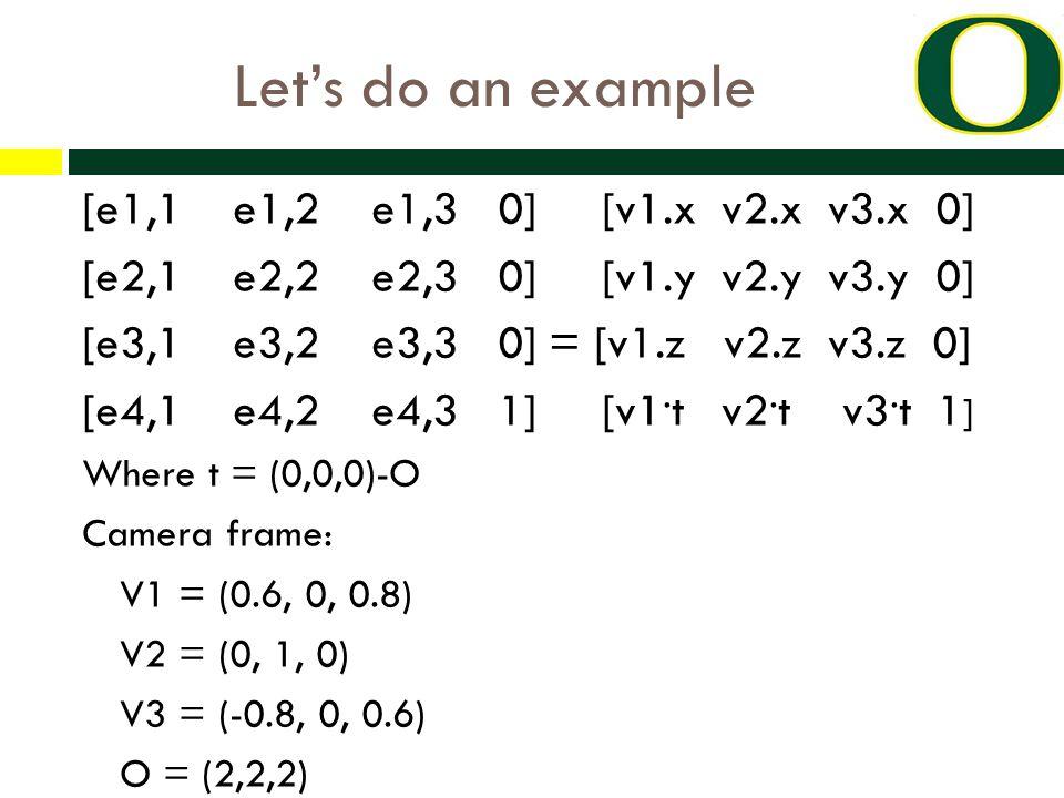 Let's do an example [e1,1 e1,2 e1,3 0] [v1.x v2.x v3.x 0] [e2,1 e2,2 e2,3 0] [v1.y v2.y v3.y 0] [e3,1 e3,2 e3,3 0] = [v1.z v2.z v3.z 0] [e4,1 e4,2 e4,3 1] [v1.