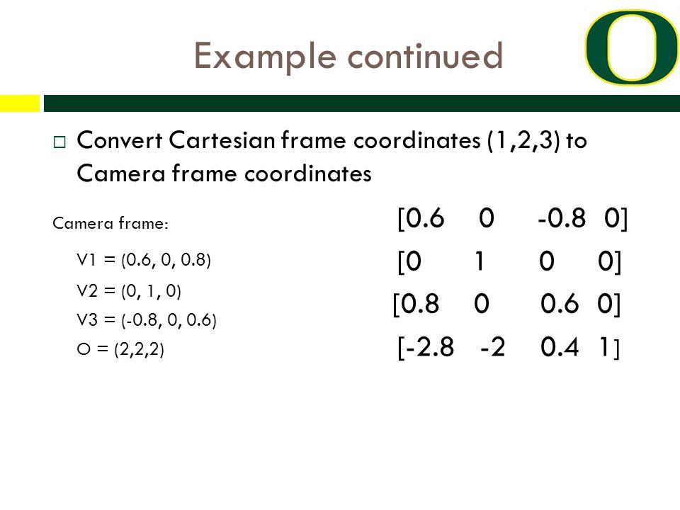 Example continued  Convert Cartesian frame coordinates (1,2,3) to Camera frame coordinates [e1,1 e1,2 e1,3 0] [0.6 0 -0.8 0] [e2,1 e2,2 e2,3 0] [0 1 0 0] [e3,1 e3,2 e3,3 0] = [0.8 0 0.6 0] [e4,1 e4,2 e4,3 1] [-2.8 -2 0.4 1 ] Camera frame: V1 = (0.6, 0, 0.8) V2 = (0, 1, 0) V3 = (-0.8, 0, 0.6) O = (2,2,2)