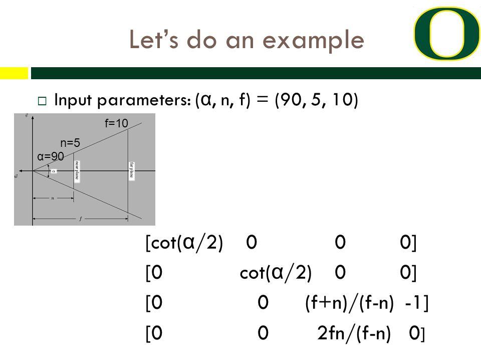 Let's do an example α=90  Input parameters: ( α, n, f) = (90, 5, 10) [cot( α /2) 0 0 0] [0 cot( α /2) 0 0] [0 0 (f+n)/(f-n) -1] [0 0 2fn/(f-n) 0 ] n=5 f=10