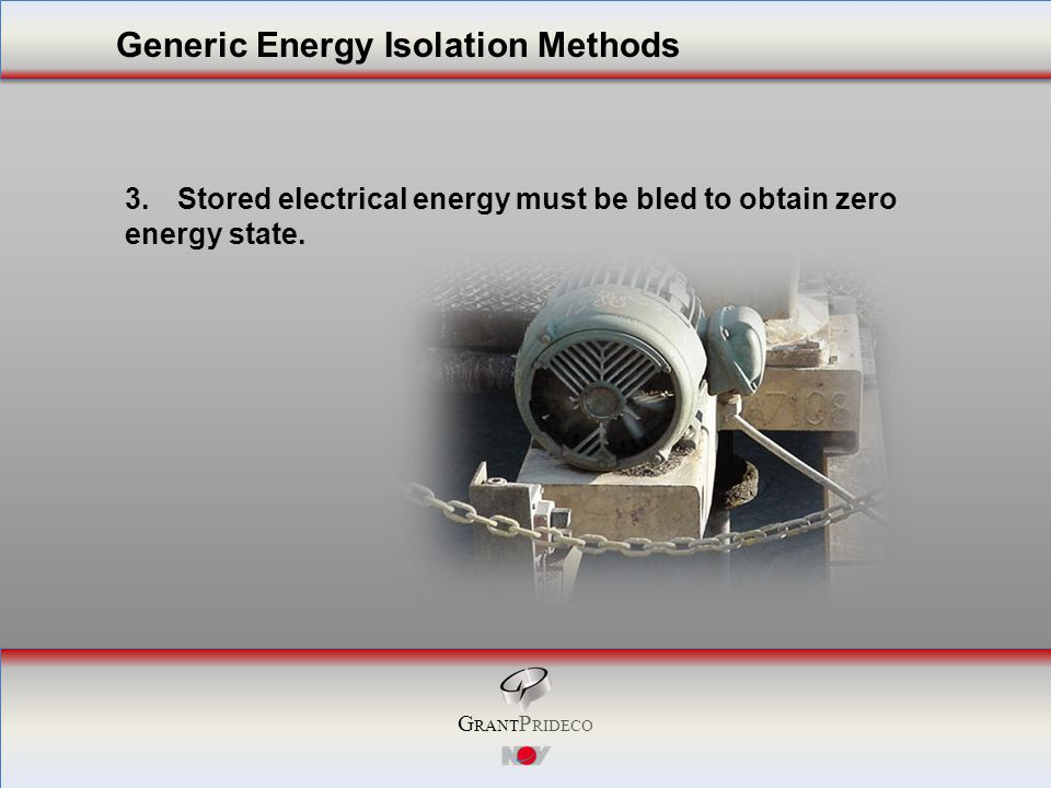 G RANT P RIDECO 3.Stored electrical energy must be bled to obtain zero energy state.