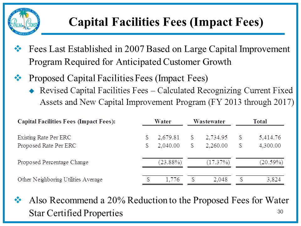 30  Fees Last Established in 2007 Based on Large Capital Improvement Program Required for Anticipated Customer Growth  Proposed Capital Facilities Fees (Impact Fees)  Revised Capital Facilities Fees – Calculated Recognizing Current Fixed Assets and New Capital Improvement Program (FY 2013 through 2017)  Also Recommend a 20% Reduction to the Proposed Fees for Water Star Certified Properties Capital Facilities Fees (Impact Fees)