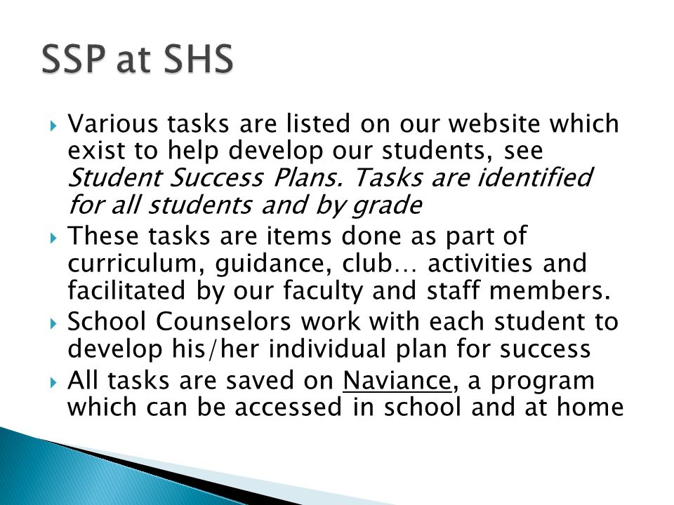  Various tasks are listed on our website which exist to help develop our students, see Student Success Plans.
