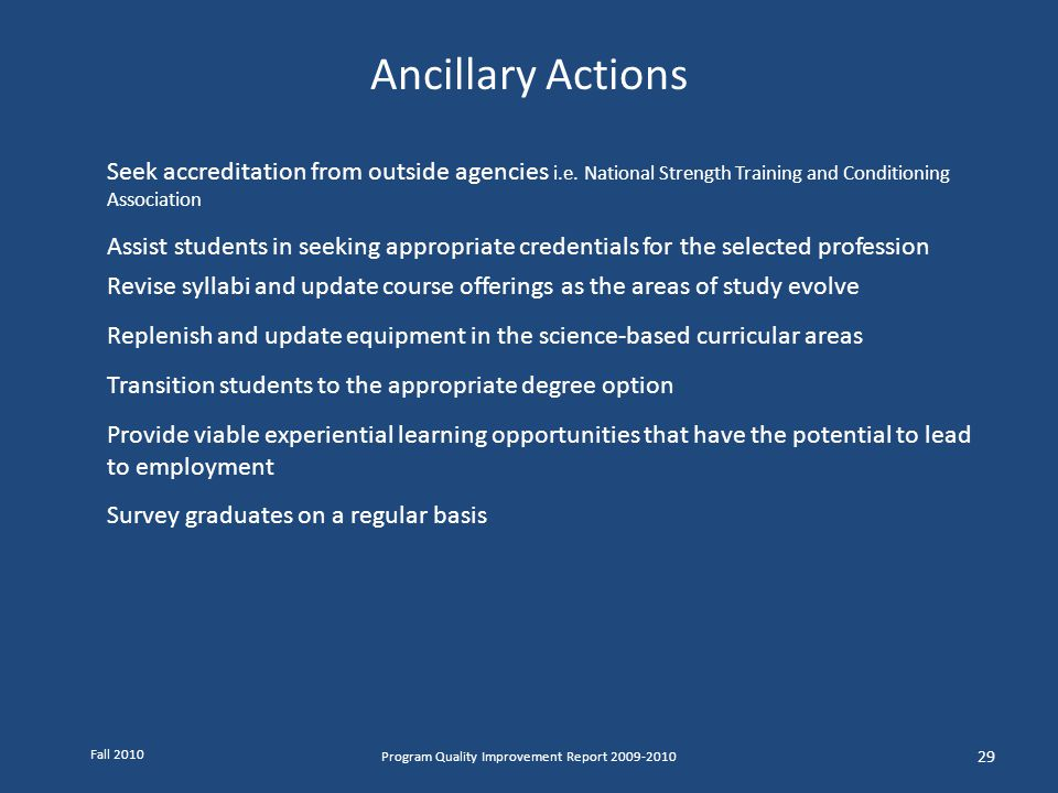 Ancillary Actions Seek accreditation from outside agencies i.e. National Strength Training and Conditioning Association Assist students in seeking app