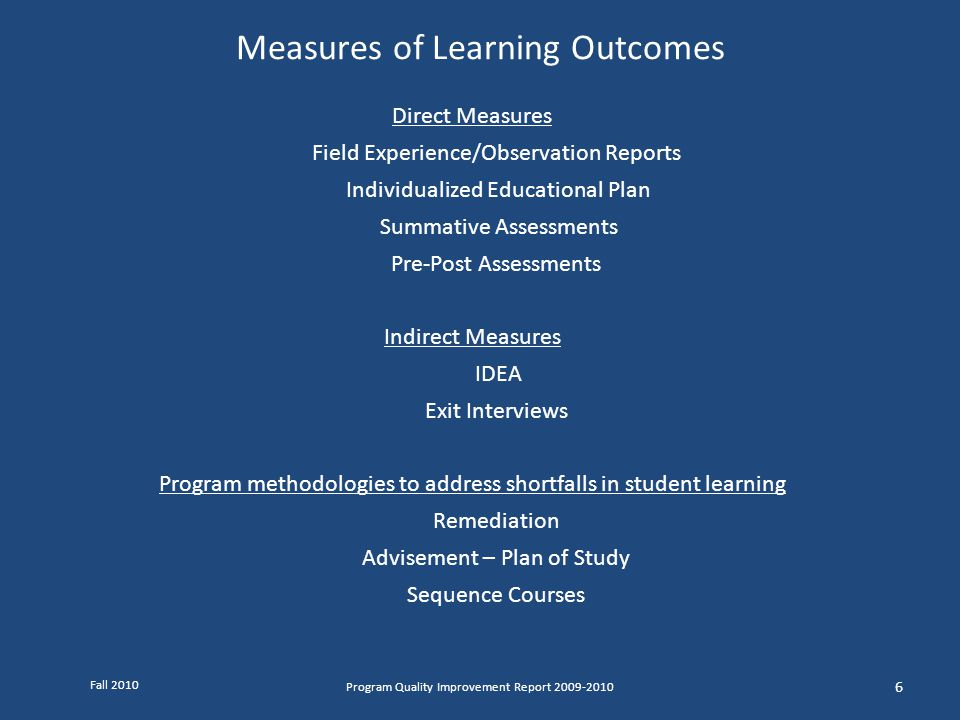 Measures of Learning Outcomes Program Quality Improvement Report 2009-2010 6 Direct Measures Field Experience/Observation Reports Individualized Educa