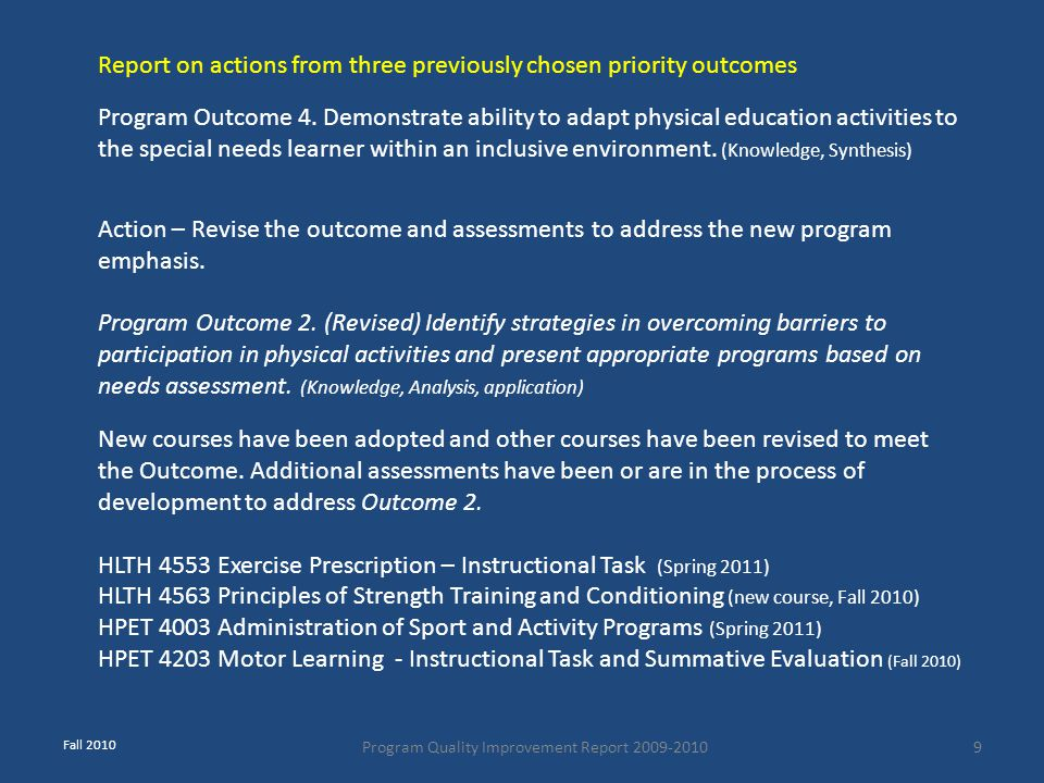 Program Quality Improvement Report 2009-20109 Program Outcome 4. Demonstrate ability to adapt physical education activities to the special needs learn