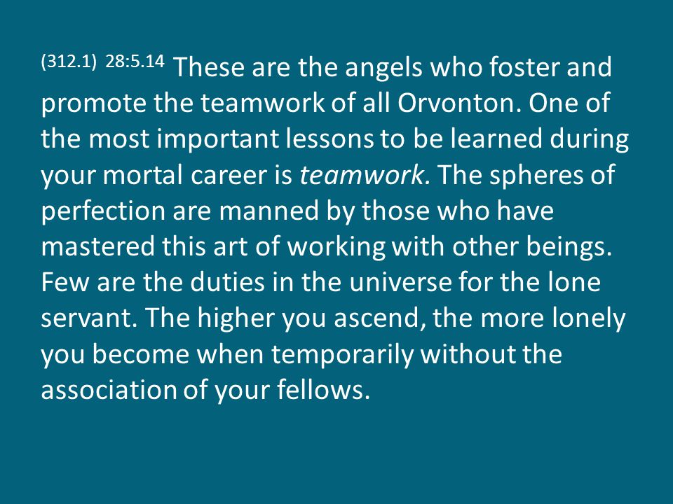 (312.1) 28:5.14 These are the angels who foster and promote the teamwork of all Orvonton.