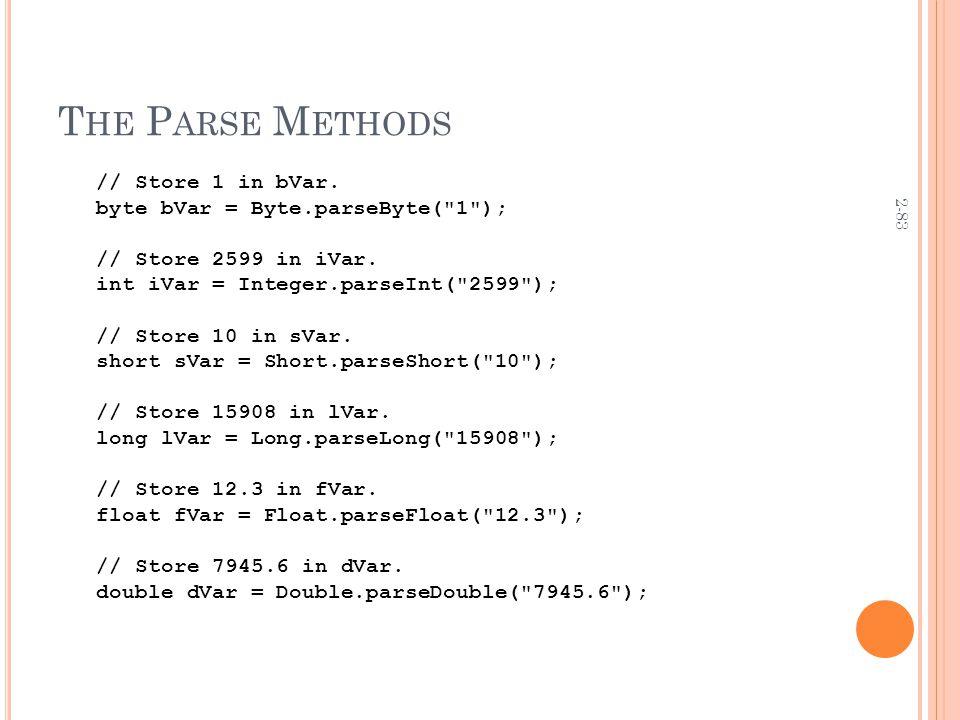 2-83 T HE P ARSE M ETHODS // Store 1 in bVar. byte bVar = Byte.parseByte(