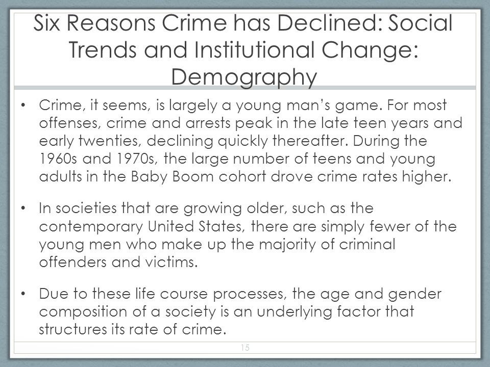 Six Reasons Crime has Declined: Social Trends and Institutional Change: Demography Crime, it seems, is largely a young man's game.