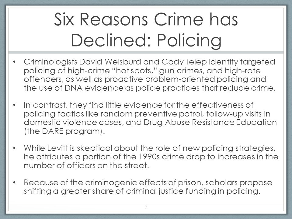 Six Reasons Crime has Declined: Policing Criminologists David Weisburd and Cody Telep identify targeted policing of high-crime hot spots, gun crimes, and high-rate offenders, as well as proactive problem-oriented policing and the use of DNA evidence as police practices that reduce crime.