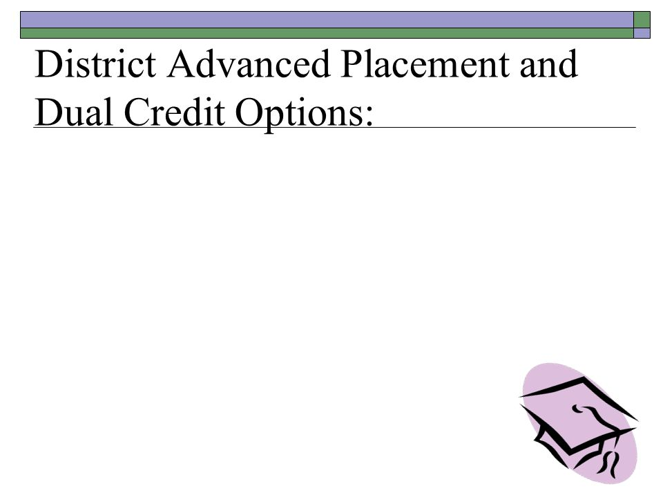 District Advanced Placement and Dual Credit Options: