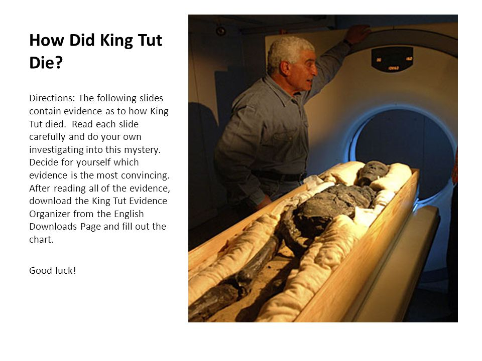 How Did King Tut Die? Directions: The following slides contain evidence as to how King Tut died. Read each slide carefully and do your own investigati