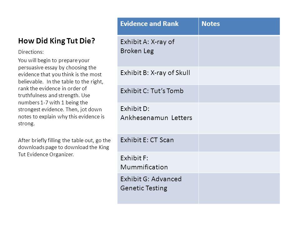 How Did King Tut Die? Evidence and RankNotes Exhibit A: X-ray of Broken Leg Exhibit B: X-ray of Skull Exhibit C: Tut's Tomb Exhibit D: Ankhesenamun Le