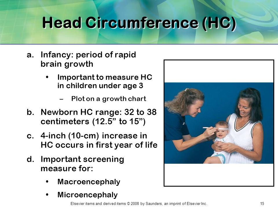 Elsevier items and derived items © 2008 by Saunders, an imprint of Elsevier Inc.15 Head Circumference (HC) a.Infancy: period of rapid brain growth Imp