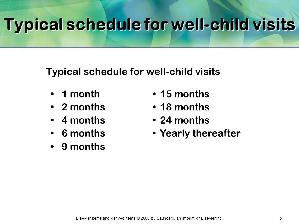 Elsevier items and derived items © 2008 by Saunders, an imprint of Elsevier Inc.5 Typical schedule for well-child visits 1 month 2 months 4 months 6 m