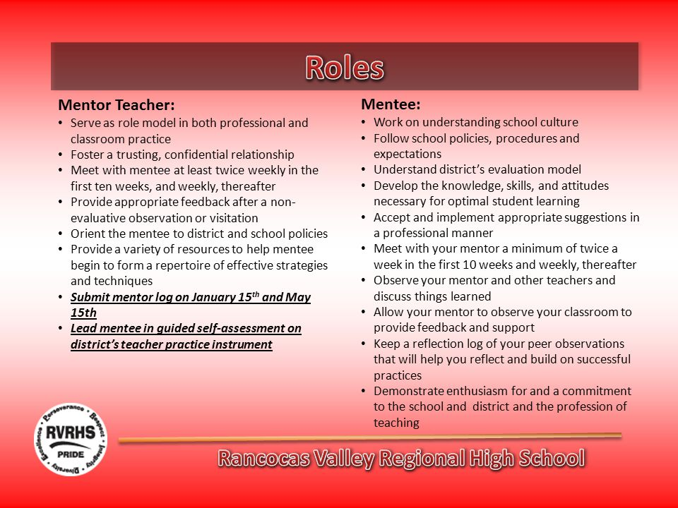 Mentor Teacher: Serve as role model in both professional and classroom practice Foster a trusting, confidential relationship Meet with mentee at least twice weekly in the first ten weeks, and weekly, thereafter Provide appropriate feedback after a non- evaluative observation or visitation Orient the mentee to district and school policies Provide a variety of resources to help mentee begin to form a repertoire of effective strategies and techniques Submit mentor log on January 15 th and May 15th Lead mentee in guided self-assessment on district's teacher practice instrument Mentee: Work on understanding school culture Follow school policies, procedures and expectations Understand district's evaluation model Develop the knowledge, skills, and attitudes necessary for optimal student learning Accept and implement appropriate suggestions in a professional manner Meet with your mentor a minimum of twice a week in the first 10 weeks and weekly, thereafter Observe your mentor and other teachers and discuss things learned Allow your mentor to observe your classroom to provide feedback and support Keep a reflection log of your peer observations that will help you reflect and build on successful practices Demonstrate enthusiasm for and a commitment to the school and district and the profession of teaching