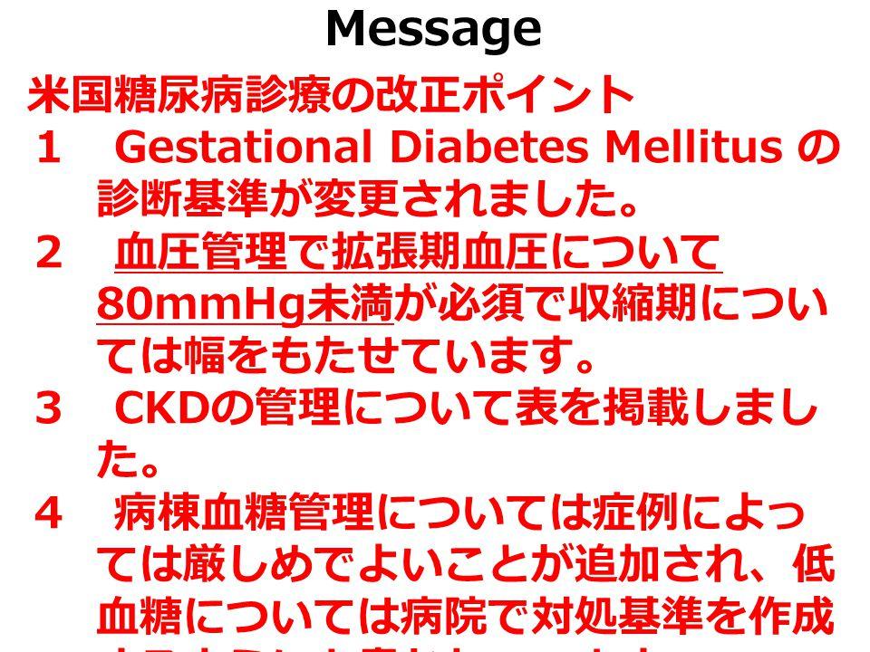 Message 米国糖尿病診療の改正ポイント 1 Gestational Diabetes Mellitus の 診断基準が変更されました。 2 血圧管理で拡張期血圧について 80mmHg 未満が必須で収縮期につい ては幅をもたせています。 3 CKD の管理について表を掲載しまし た。 4 病棟血糖管理については症例によっ ては厳しめでよいことが追加され、低 血糖については病院で対処基準を作成 するようにと書かれています。