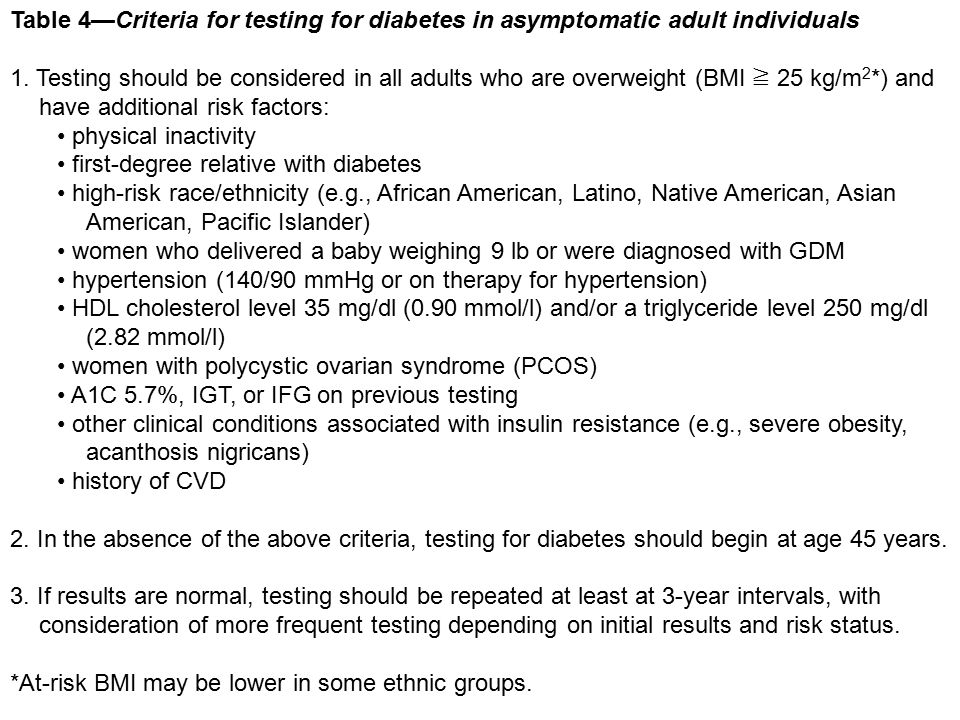 Table 4—Criteria for testing for diabetes in asymptomatic adult individuals 1. Testing should be considered in all adults who are overweight (BMI ≧ 25