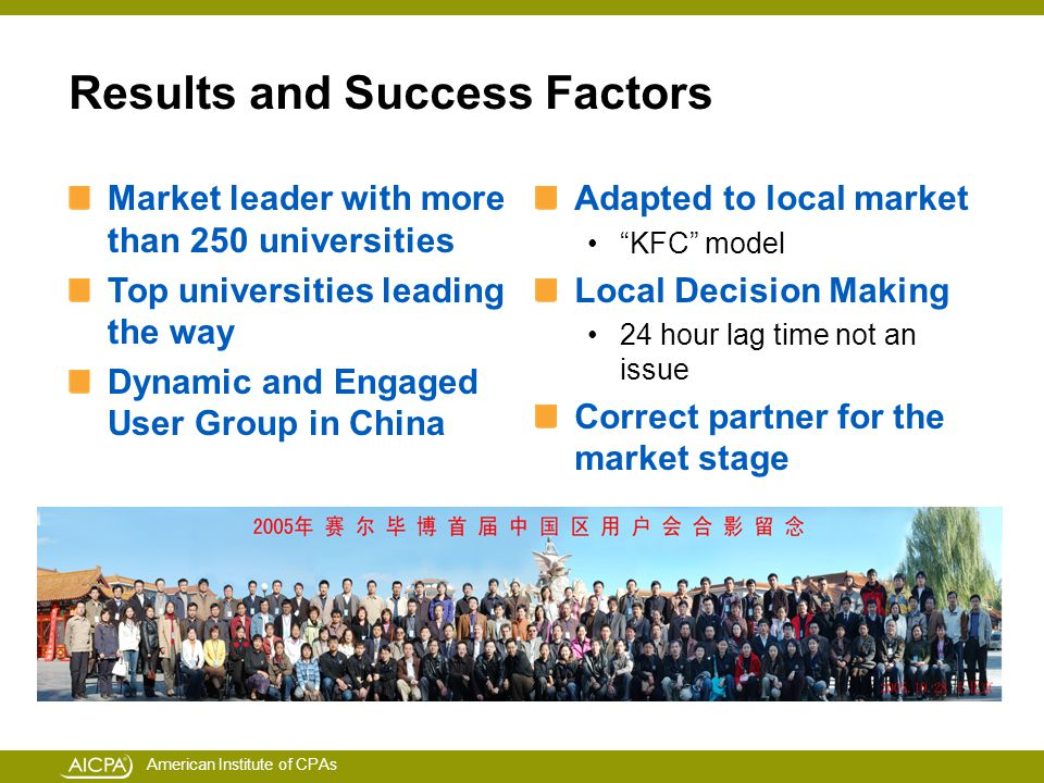 American Institute of CPAs Market leader with more than 250 universities Top universities leading the way Dynamic and Engaged User Group in China Adapted to local market KFC model Local Decision Making 24 hour lag time not an issue Correct partner for the market stage Results and Success Factors