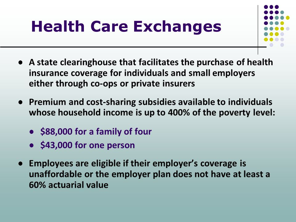 Health Care Exchanges A state clearinghouse that facilitates the purchase of health insurance coverage for individuals and small employers either thro