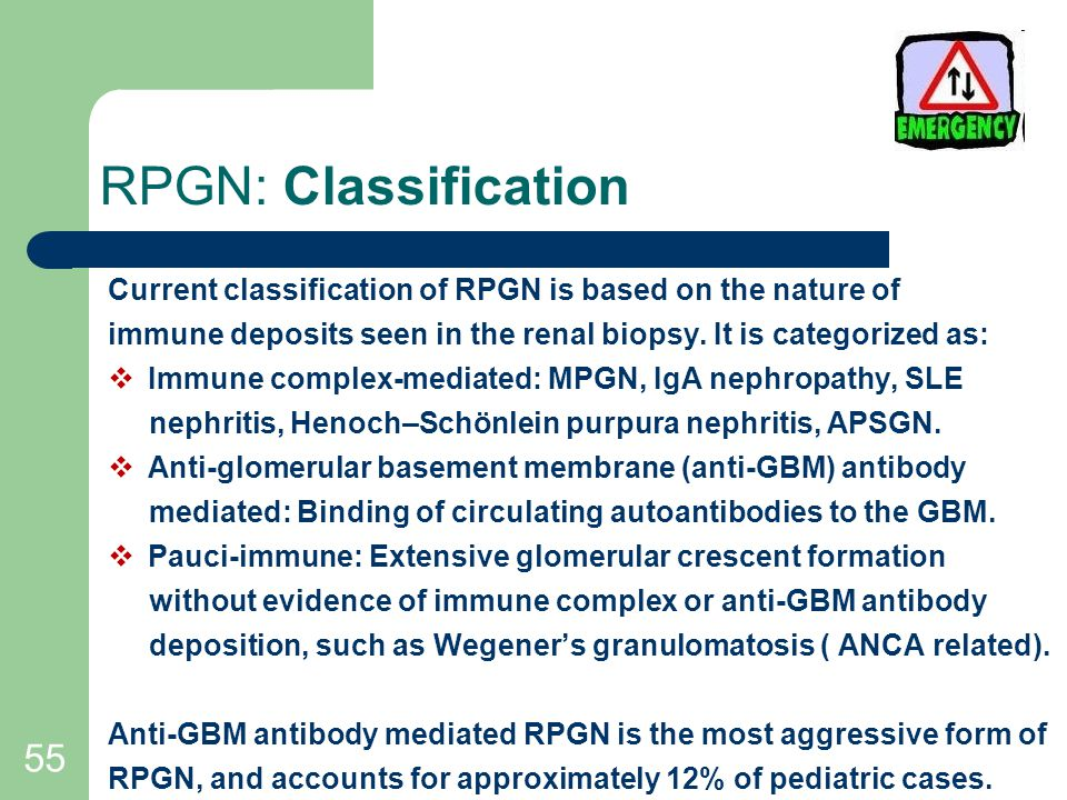 55 RPGN: Classification Current classification of RPGN is based on the nature of immune deposits seen in the renal biopsy.
