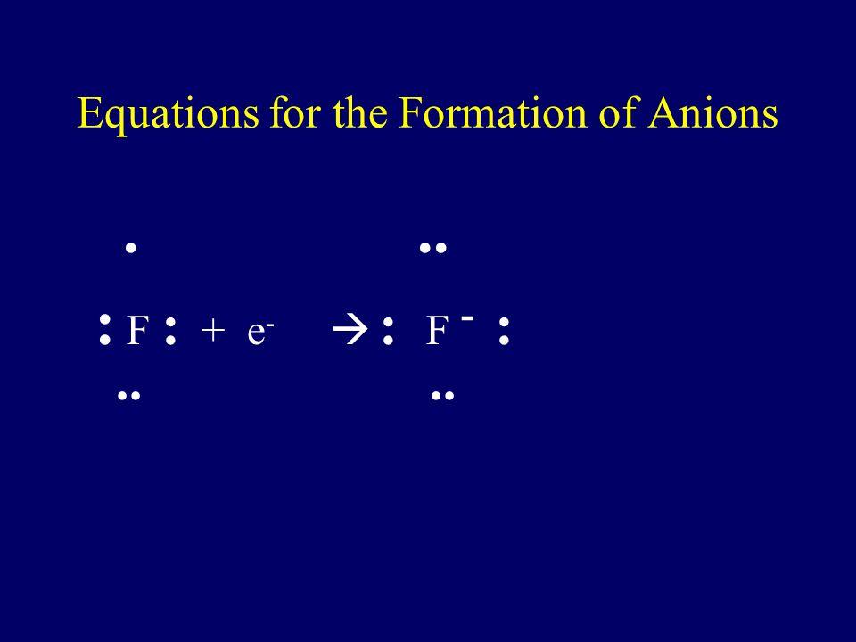 Equations for the Formation of Cations H.  H + + e - Li.  Li + + e - Mg :  Mg 2+ + 2e -