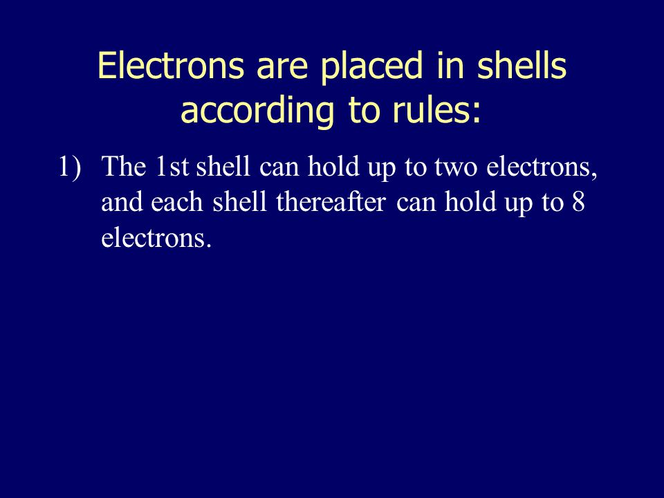 electron shells a)Atomic number = number of Electrons b)Electrons vary in the amount of energy they possess, and they occur at certain energy levels o