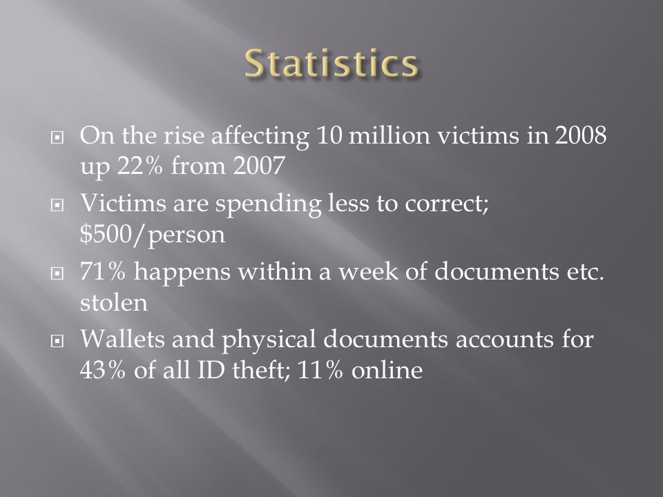  1 in 10 US consumers already have been a victim  1.6 million households experienced fraud not related to credit cards ( i.e.