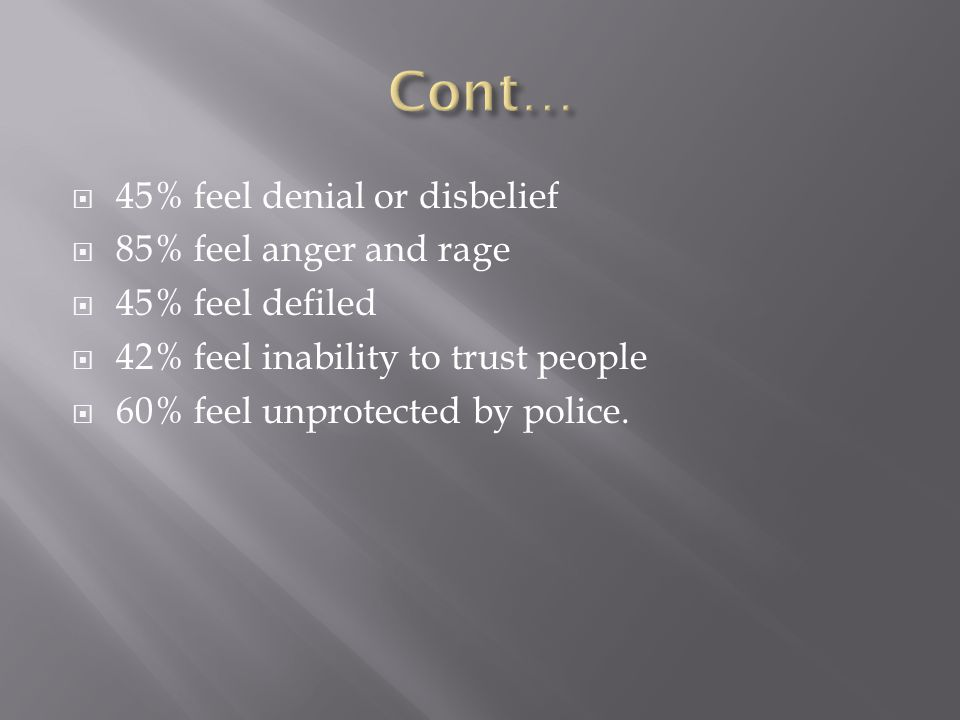  45% feel denial or disbelief  85% feel anger and rage  45% feel defiled  42% feel inability to trust people  60% feel unprotected by police.