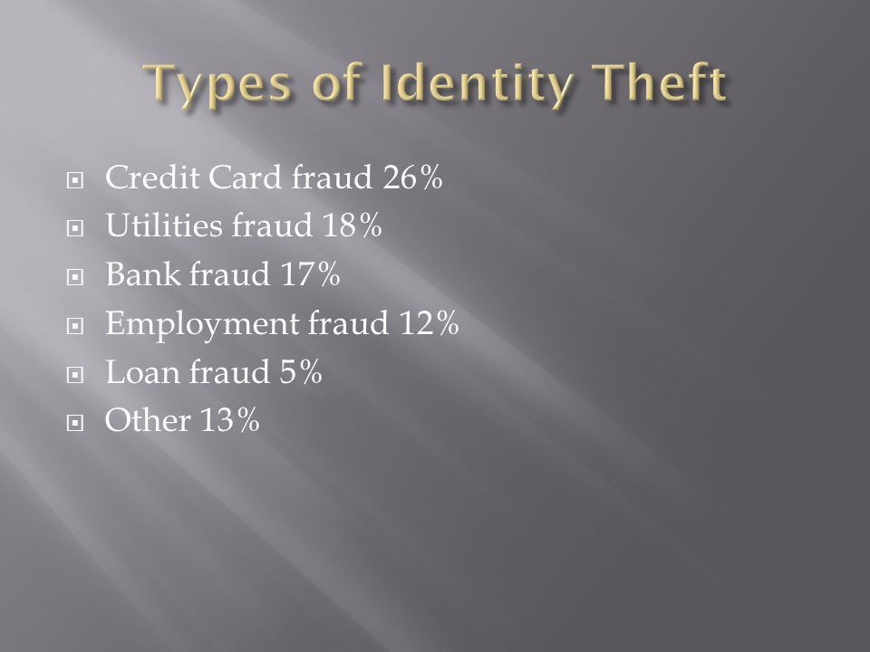  Credit Card fraud 26%  Utilities fraud 18%  Bank fraud 17%  Employment fraud 12%  Loan fraud 5%  Other 13%