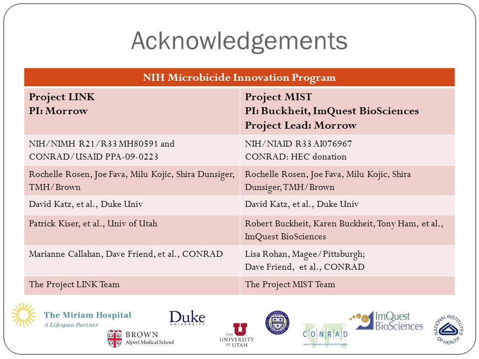 Acknowledgements NIH Microbicide Innovation Program Project LINK PI: Morrow Project MIST PI: Buckheit, ImQuest BioSciences Project Lead: Morrow NIH/NIMH R21/R33 MH80591 and CONRAD/USAID PPA-09-0223 NIH/NIAID R33 AI076967 CONRAD: HEC donation Rochelle Rosen, Joe Fava, Milu Kojic, Shira Dunsiger, TMH/Brown David Katz, et al., Duke Univ Patrick Kiser, et al., Univ of UtahRobert Buckheit, Karen Buckheit, Tony Ham, et al., ImQuest BioSciences Marianne Callahan, Dave Friend, et al., CONRADLisa Rohan, Magee/Pittsburgh; Dave Friend, et al., CONRAD The Project LINK TeamThe Project MIST Team