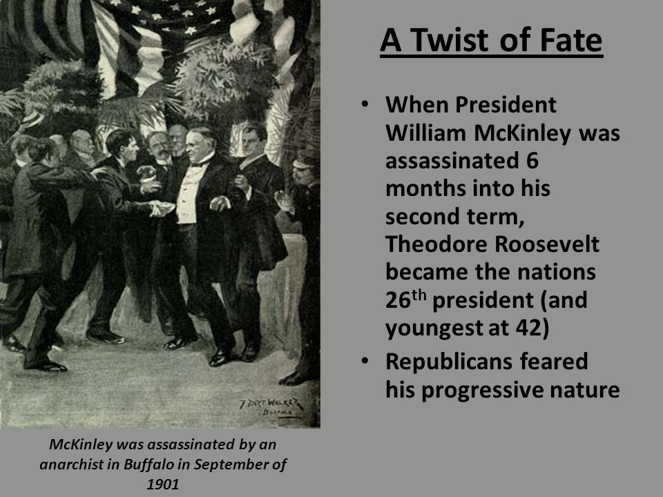 A Twist of Fate When President William McKinley was assassinated 6 months into his second term, Theodore Roosevelt became the nations 26 th president (and youngest at 42) Republicans feared his progressive nature McKinley was assassinated by an anarchist in Buffalo in September of 1901