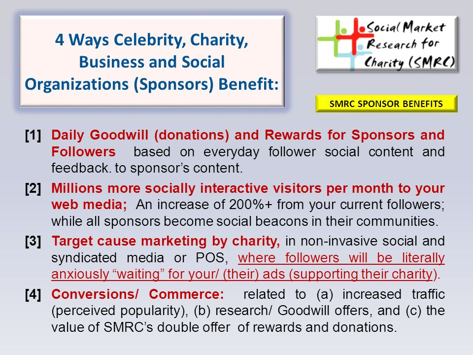 4 Ways Celebrity, Charity, Business and Social Organizations (Sponsors) Benefit: [1]Daily Goodwill (donations) and Rewards for Sponsors and Followers based on everyday follower social content and feedback.