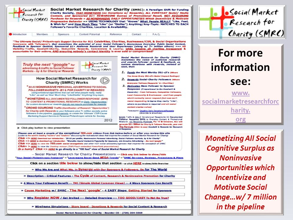 For more information see: www. socialmarketresearchforc harity.
