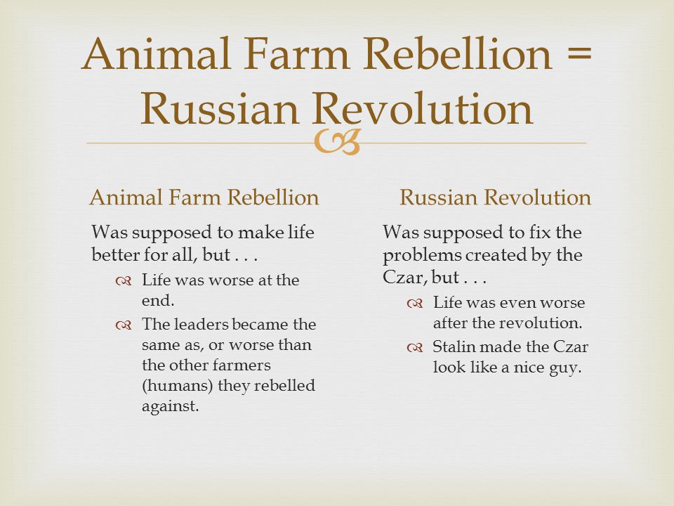  Animal Farm Rebellion = Russian Revolution Animal Farm Rebellion Was supposed to make life better for all, but...