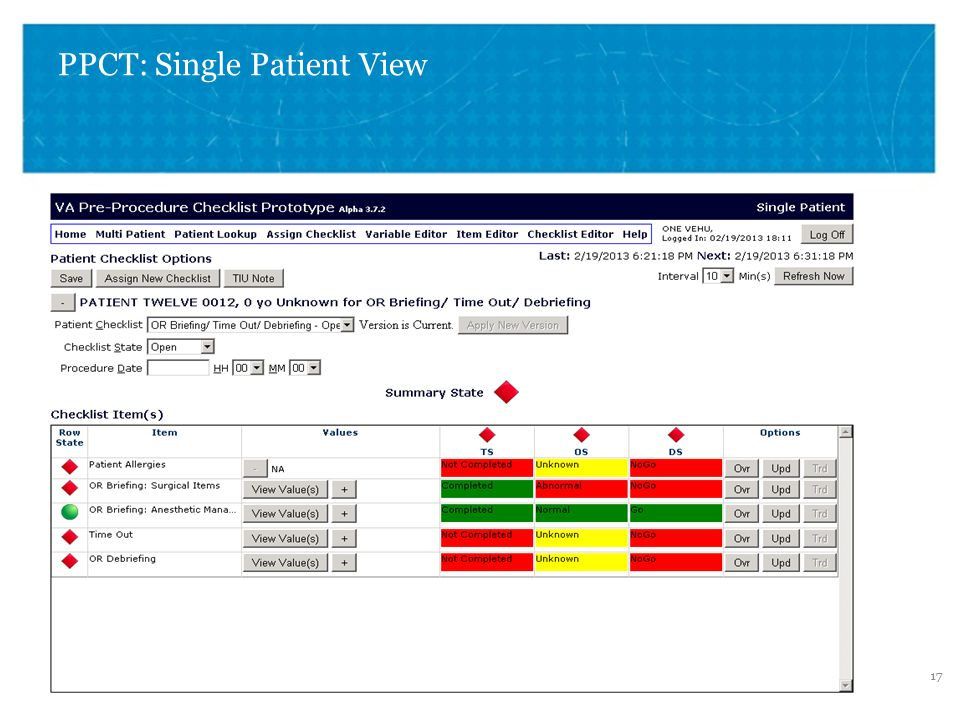 VETERANS HEALTH ADMINISTRATION PPCT: Single Patient View 17