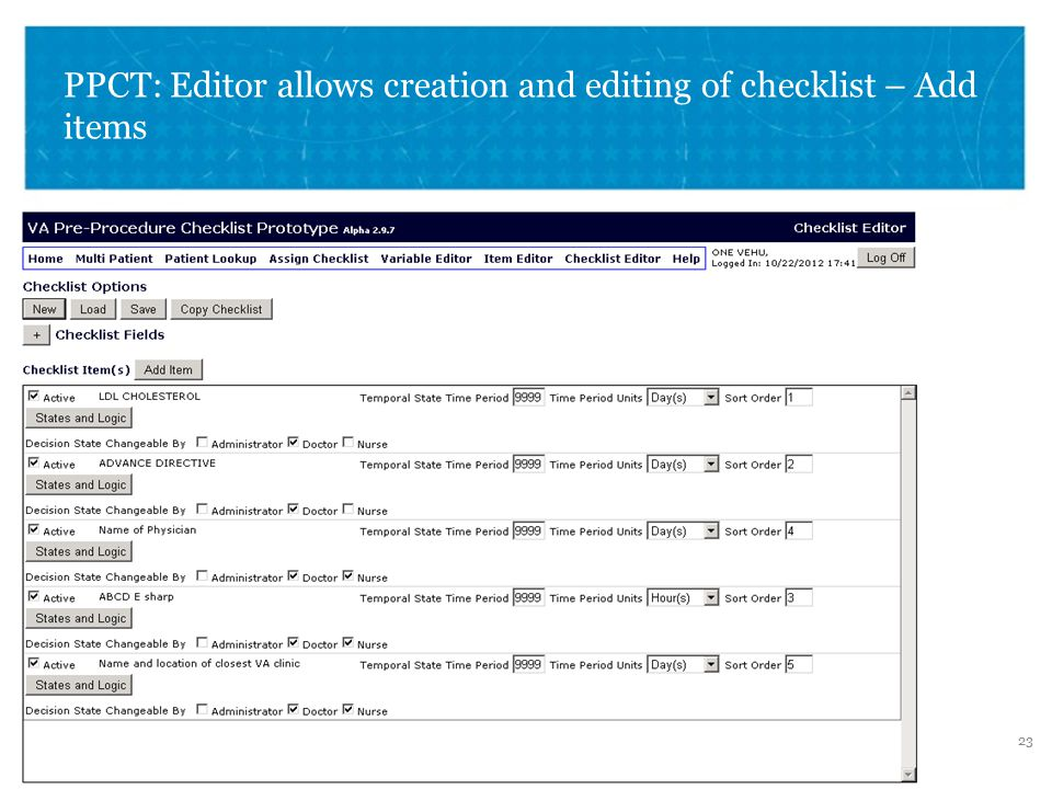 VETERANS HEALTH ADMINISTRATION PPCT: Editor allows creation and editing of checklist – Add items 23