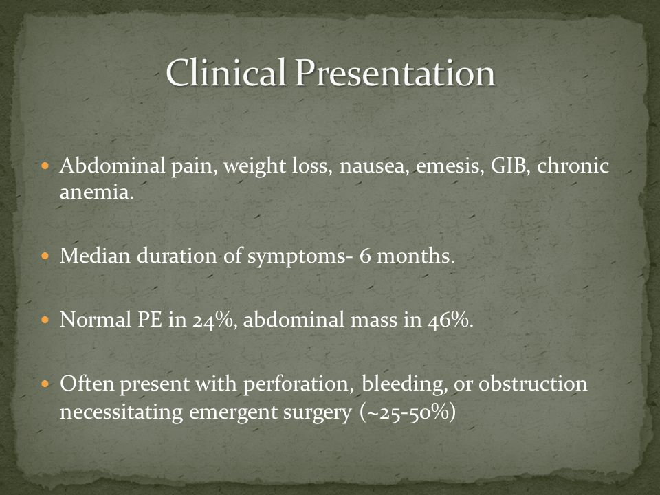 Abdominal pain, weight loss, nausea, emesis, GIB, chronic anemia.