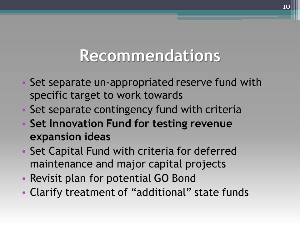 Recommendations Set separate un-appropriated reserve fund with specific target to work towards Set separate contingency fund with criteria Set Innovat