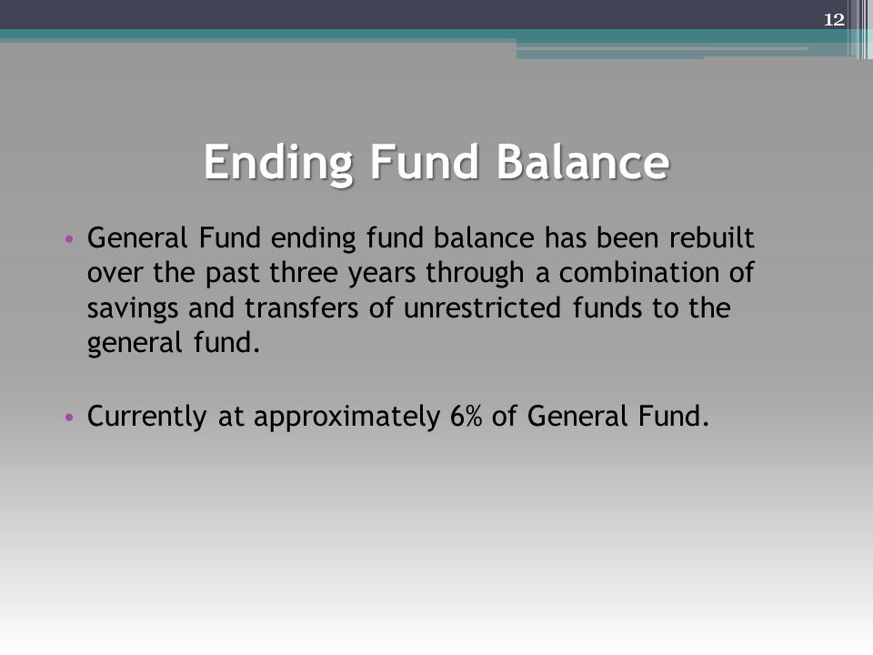 Ending Fund Balance General Fund ending fund balance has been rebuilt over the past three years through a combination of savings and transfers of unre