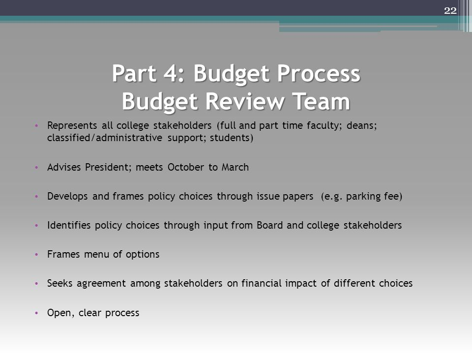 Part 4: Budget Process Budget Review Team Represents all college stakeholders (full and part time faculty; deans; classified/administrative support; s
