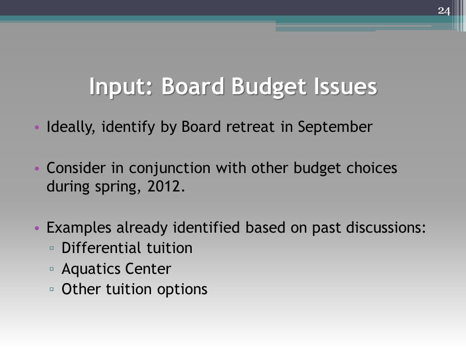 Input: Board Budget Issues Ideally, identify by Board retreat in September Consider in conjunction with other budget choices during spring, 2012.