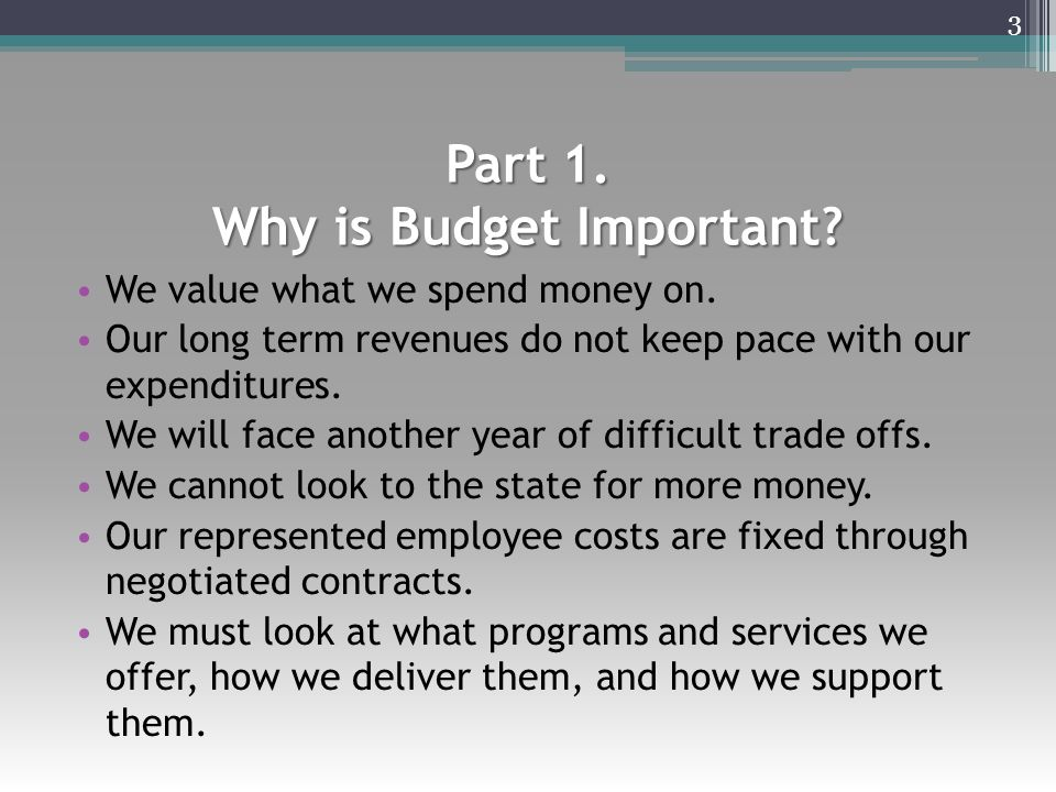 Part 1. Why is Budget Important? We value what we spend money on. Our long term revenues do not keep pace with our expenditures. We will face another