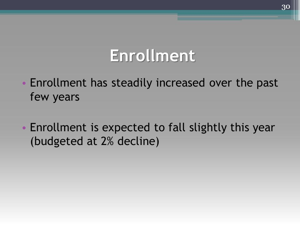 Enrollment Enrollment has steadily increased over the past few years Enrollment is expected to fall slightly this year (budgeted at 2% decline) 30