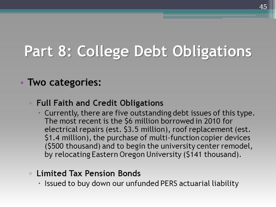 Part 8: College Debt Obligations Two categories: ▫ Full Faith and Credit Obligations  Currently, there are five outstanding debt issues of this type.