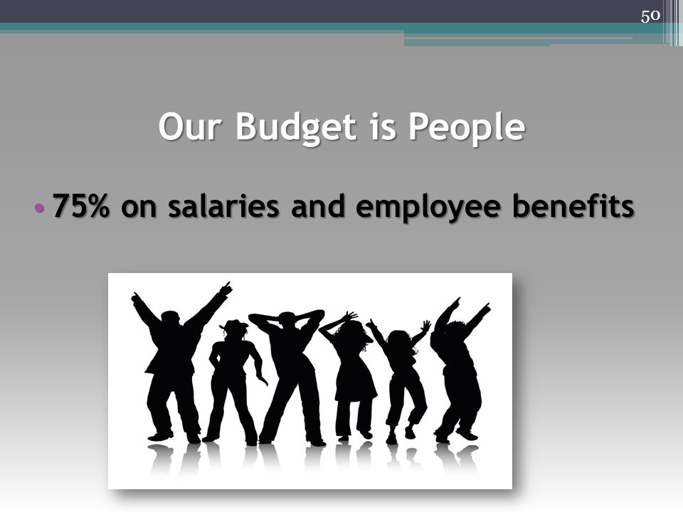 Our Budget is People 75% on salaries and employee benefits 75% on salaries and employee benefits 50