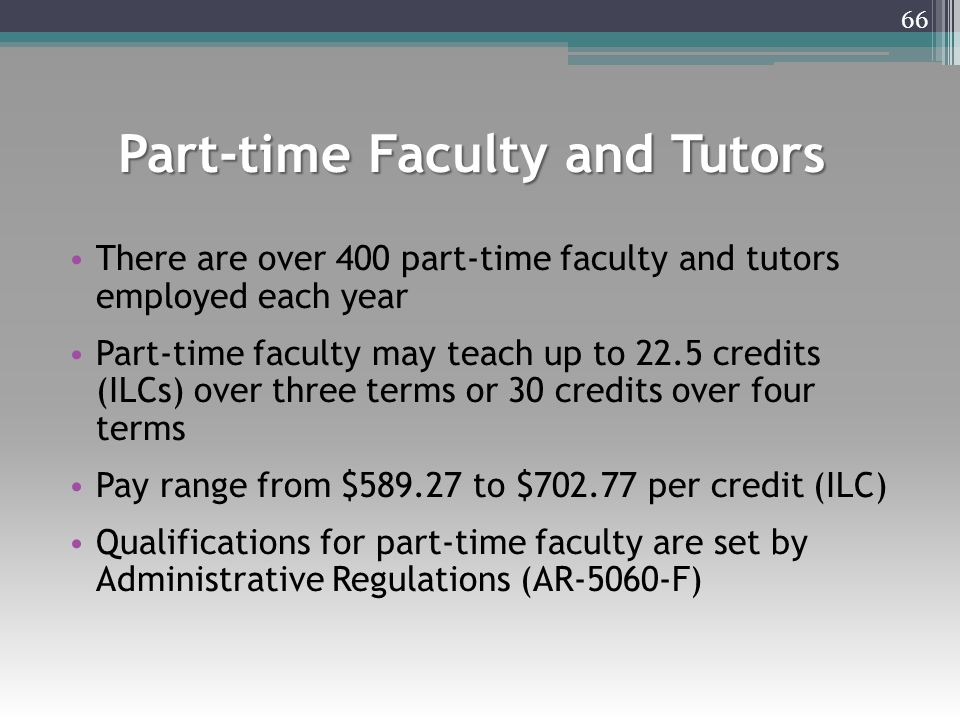 Part-time Faculty and Tutors There are over 400 part-time faculty and tutors employed each year Part-time faculty may teach up to 22.5 credits (ILCs) over three terms or 30 credits over four terms Pay range from $589.27 to $702.77 per credit (ILC) Qualifications for part-time faculty are set by Administrative Regulations (AR-5060-F) 66
